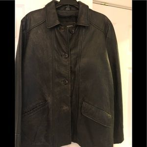 Frye leather distressed jacket, size small